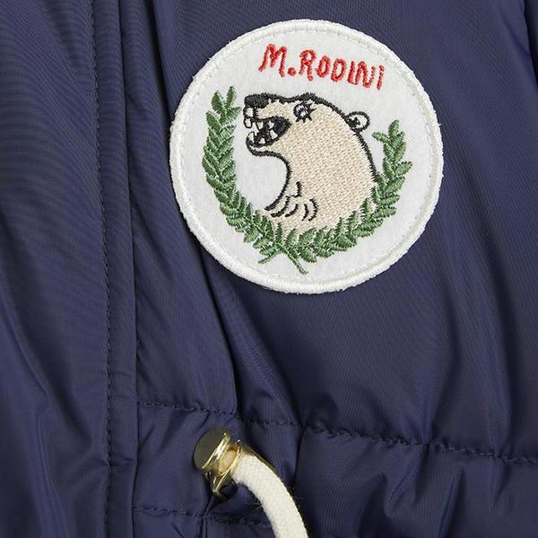 Kids Mini Rodini Child Polar Bear Patch Puffer Jacket - Navy Blue