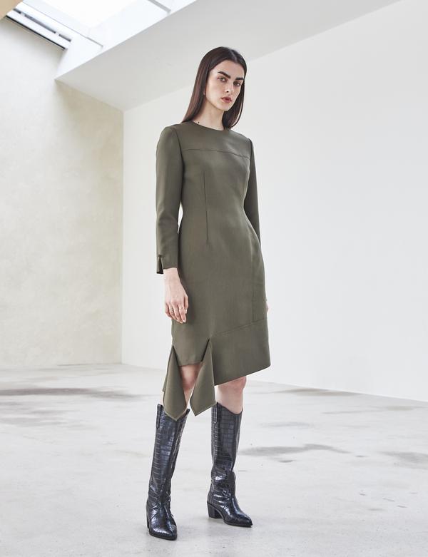 Maison De Ines ASYMMETRIC SHIRRING DRESS - khaki