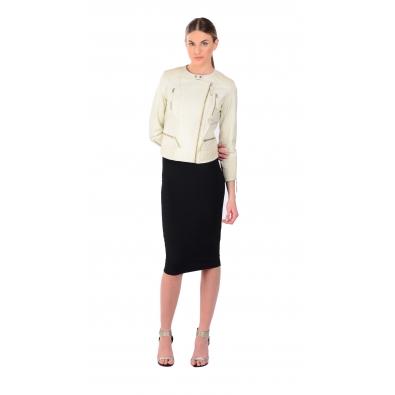 LAMARQUE Mae Basketweave Detail Leather Jacket