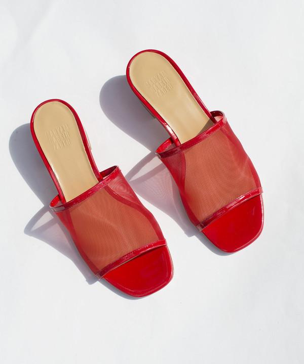 Maryam Nassir Zadeh Red Patent Sophie Mesh Slide