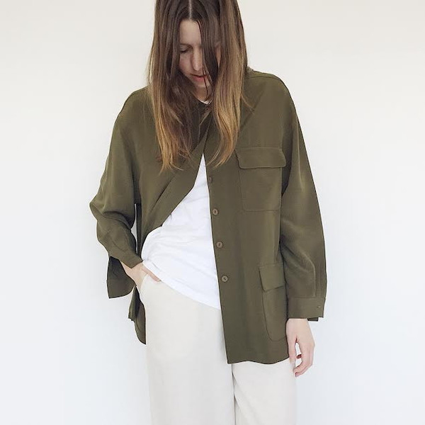 203a039148d7e Olive Silk Shirt Jacket. sold out