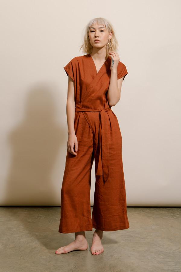 big discount sale classcic great discount sale Lauren Winter Rust Wrap Jumpsuit
