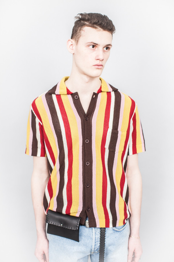 4a9160a001 CMMN SWDN Wes Knitted Striped Shirt Multicolour | Garmentory