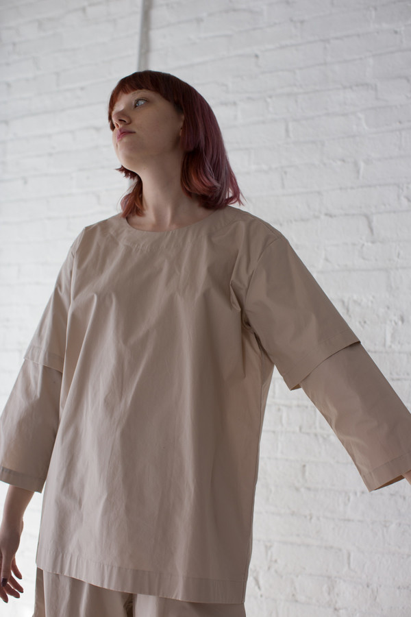 Rowena Sartin Double Sleeve Fake T-Shirt in Putty