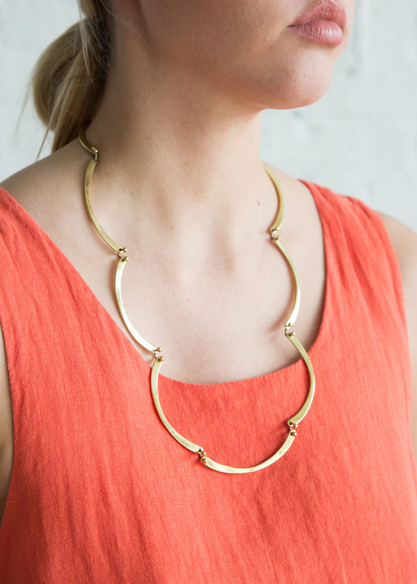 gold necklace p set statement and scallop earring ava apparel adorn