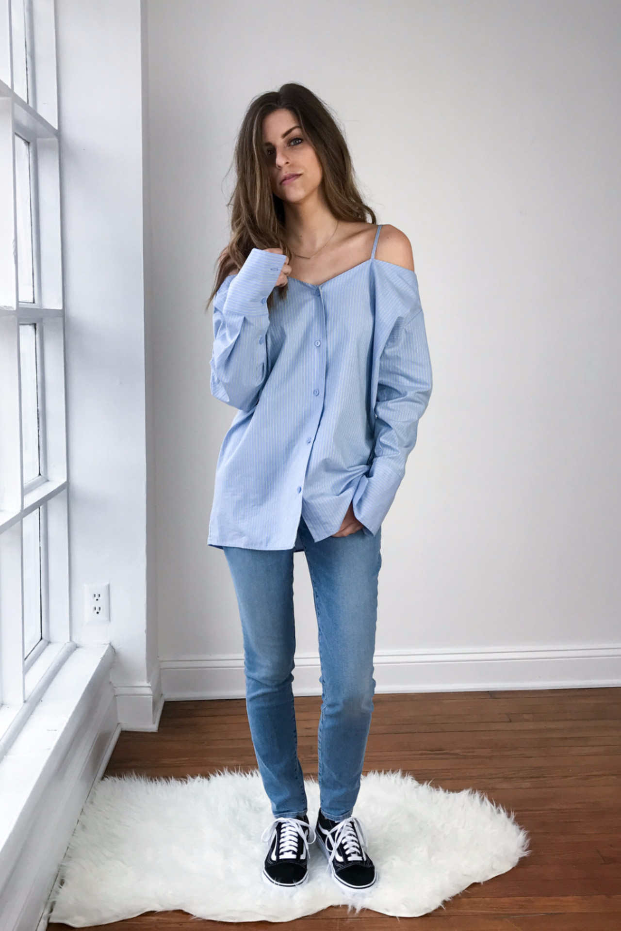 856c3d71576 Achro Pinstripe Off Shoulder Shirt Light Blue | Garmentory