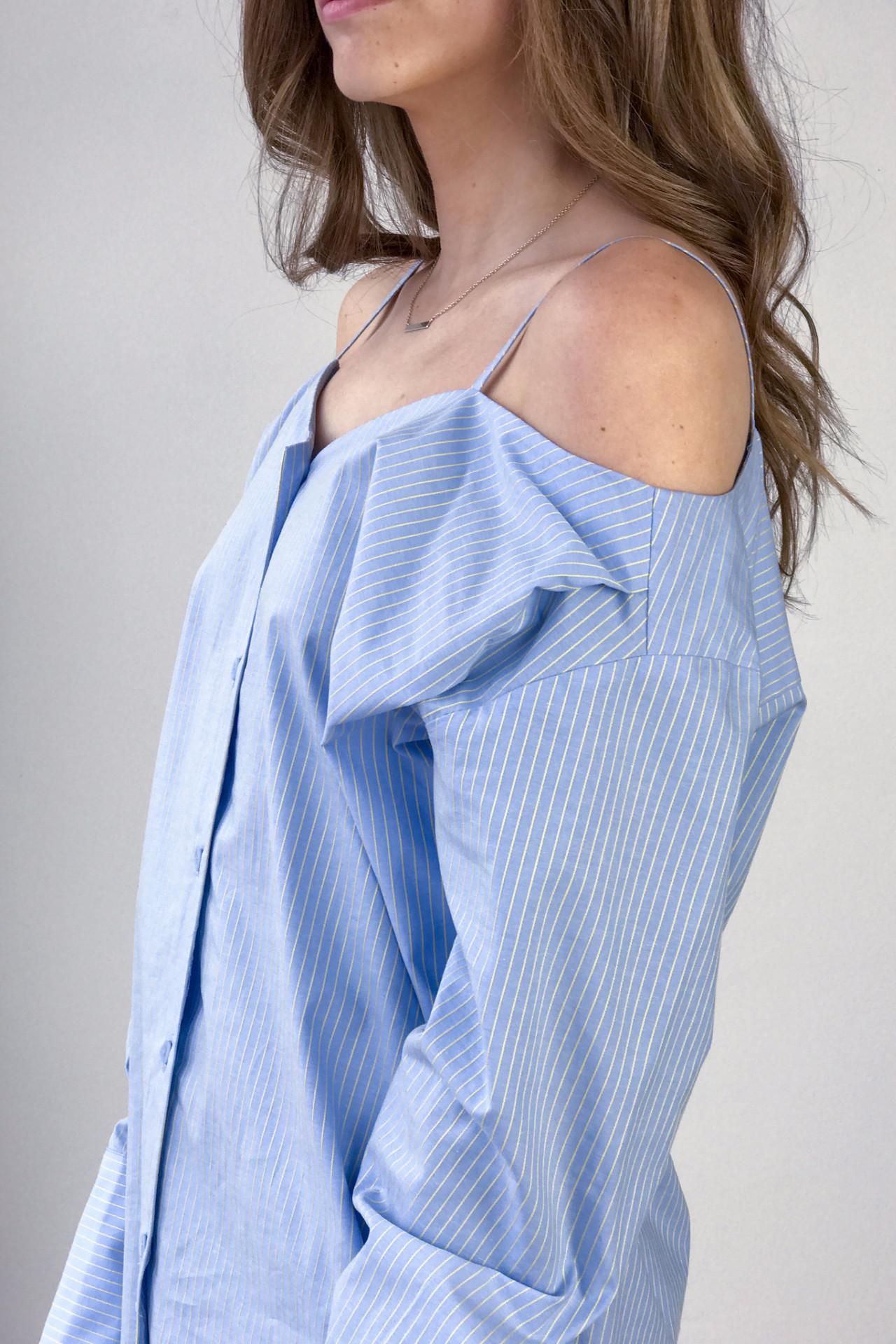Achro Pinstripe Off Shoulder Shirt Light Blue Garmentory