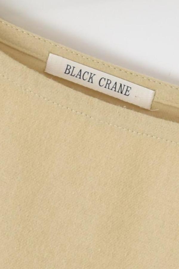 Black Crane Crew Neck Top - Natural