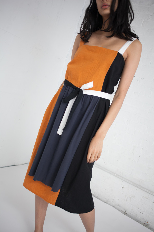 Correll Correll Side Stripe Dress In Tumeric With Black