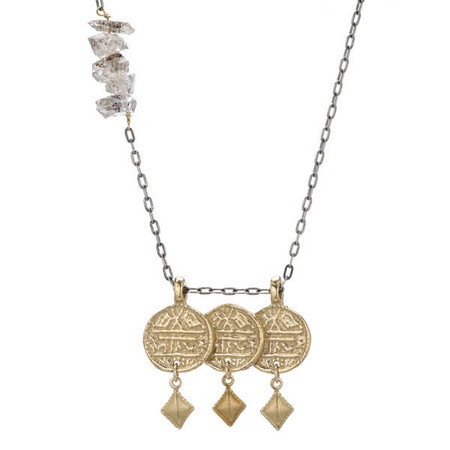 Isobel and Ezra 3 Coin Necklace Yellow Bronze