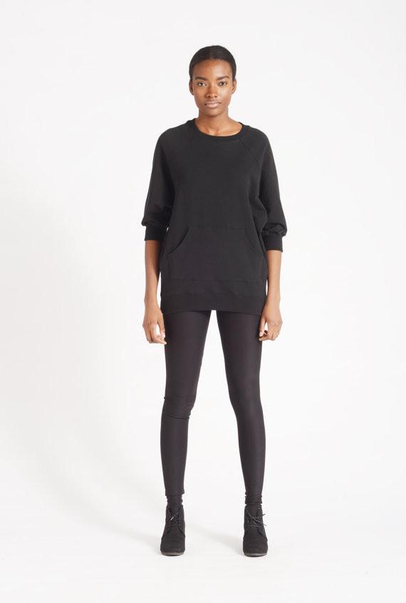 SKINNY SWEATS / OS Sweater short - black