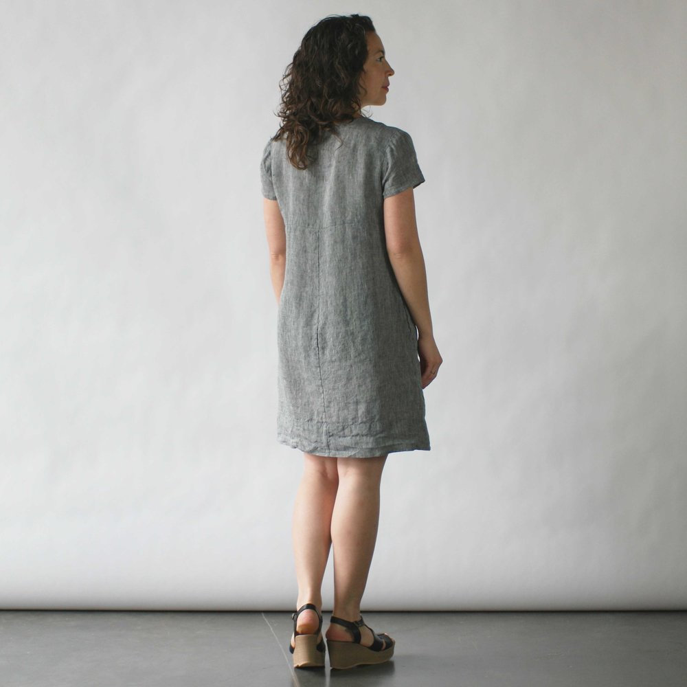 Nuthatch Shirred Dress in Washed Linen