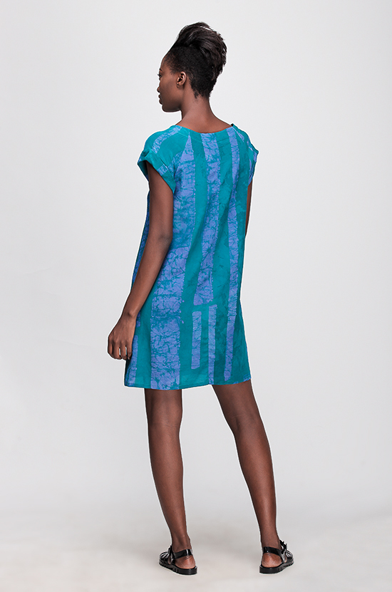 Osei-Duro Deni Raglan Dress in Teal Parallel
