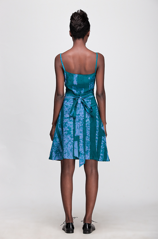 Osei-Duro Ovil Wrap Dress in Teal Parallel