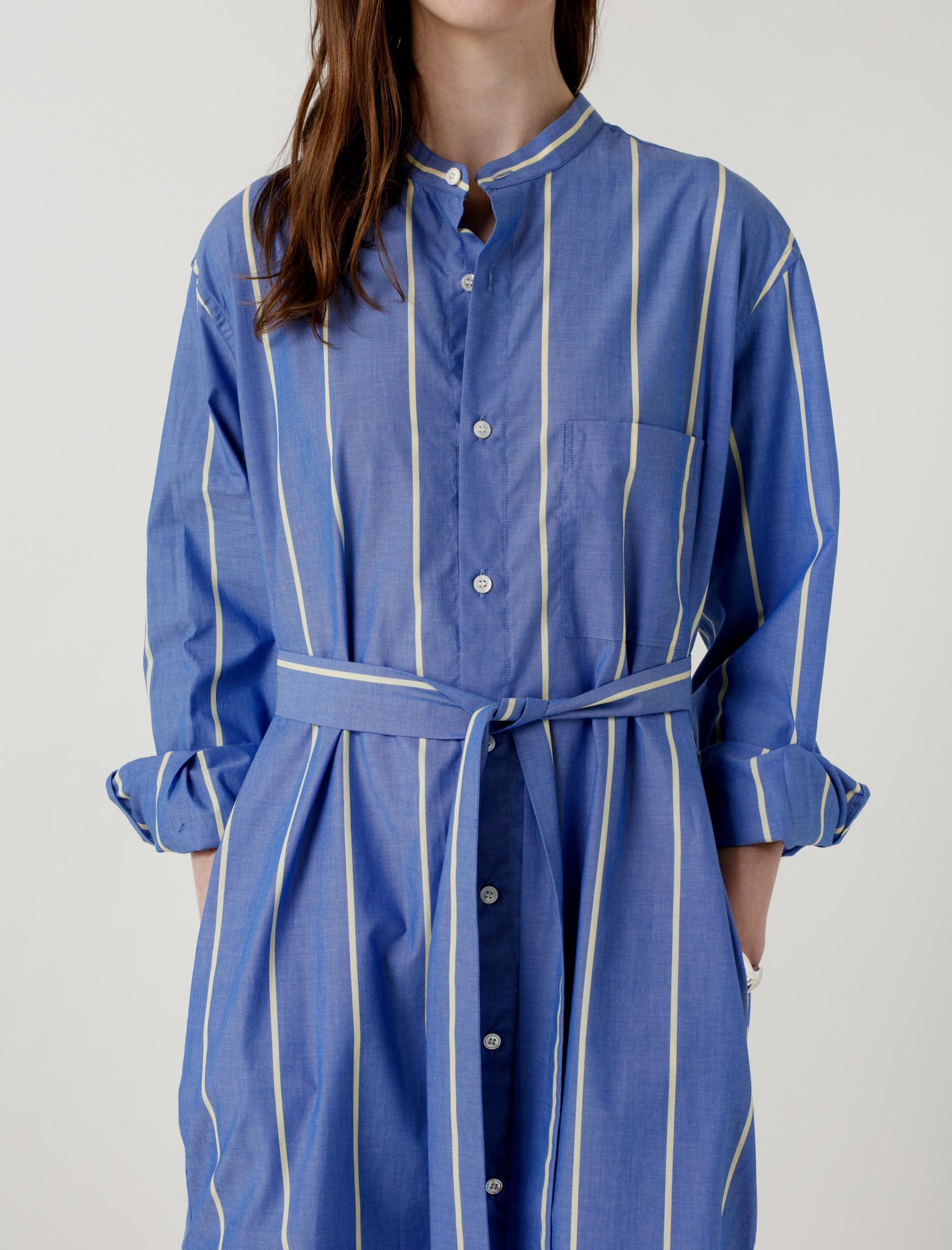 Cristaseya maxi mao shirt blue and yellow stripes garmentory for Blue and yellow dress shirt