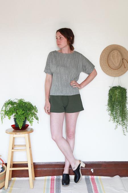 Me & Arrow Sleeve Tee - Olive Cotton