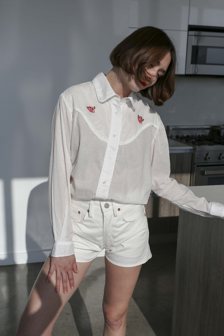 Vivien Ramsay Sunny Cut Off Shorts in Bone