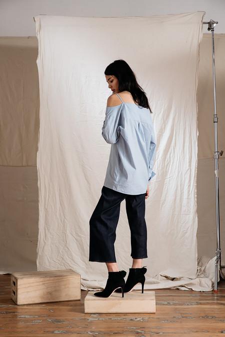 Achro Pinstripe Off-The-Shoulder Shirt