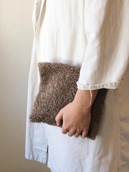 Laura Schoorl Large Charcoal Shearling Clutch