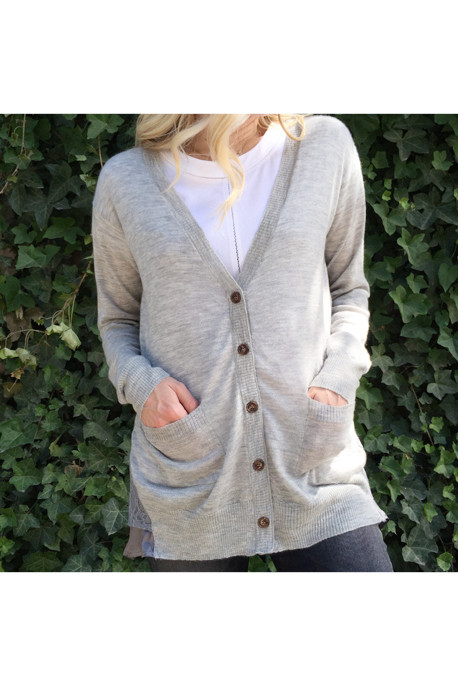 Clu Cashmere Cardigan with Lace and Satin Trim