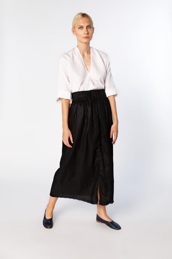 a3fa1bec50 Miranda Bennett Studio Linen Paper Bag Skirt - Black | Garmentory