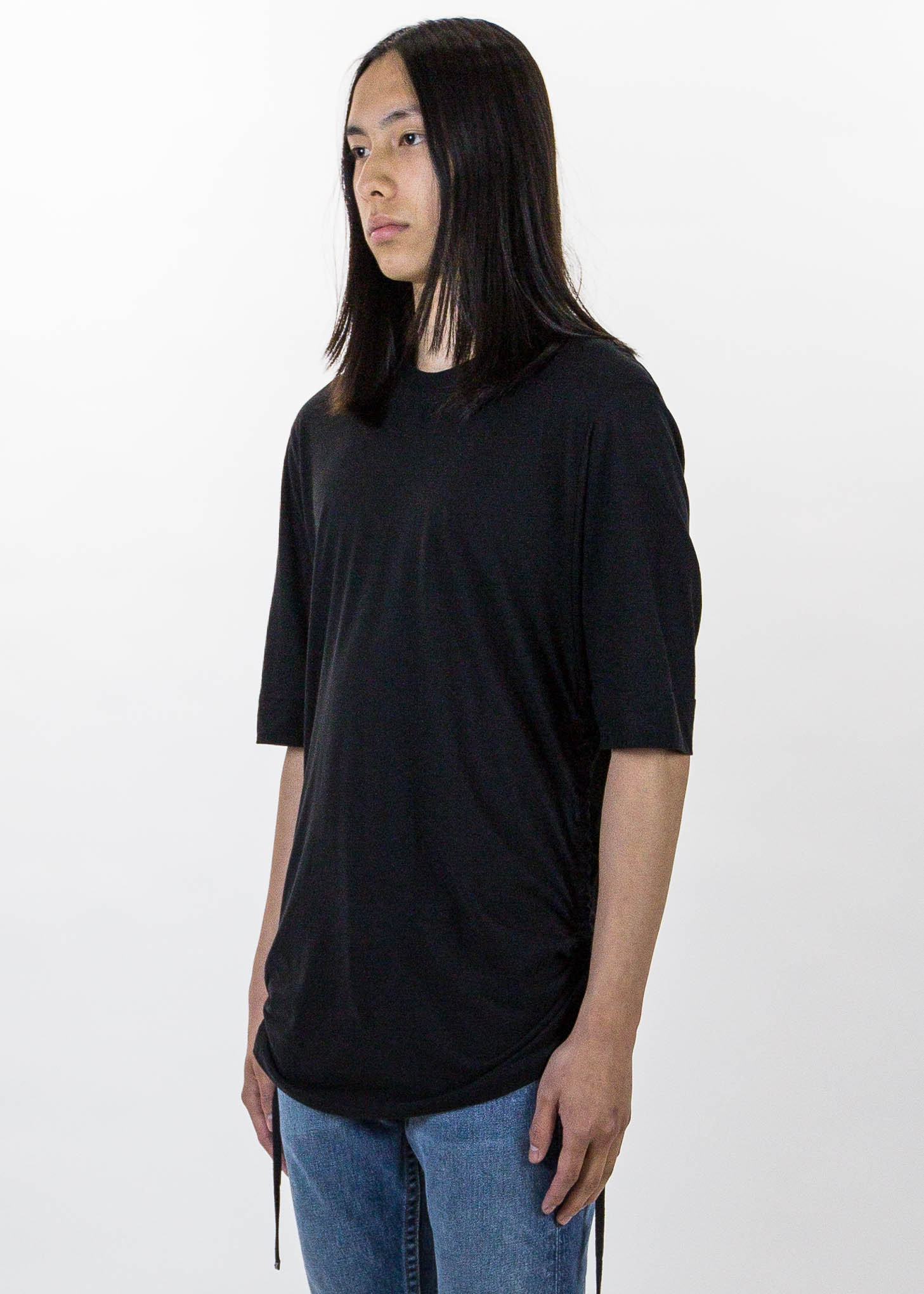 Helmut lang black drawcord t shirt garmentory for Helmut lang tee shirts