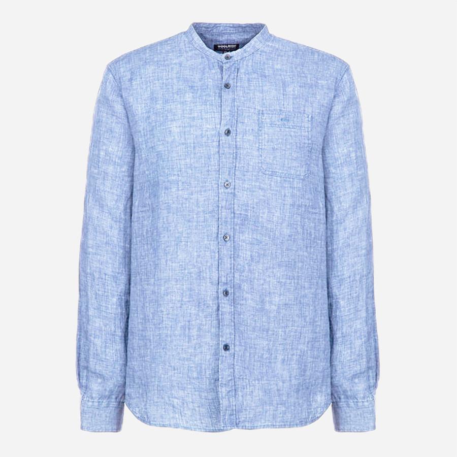 Woolrich john rich bros linen corean collar shirt for Mens light blue linen shirt