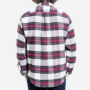 Portuguese Flannel Pau Flannel Shirt - White & Raspberry