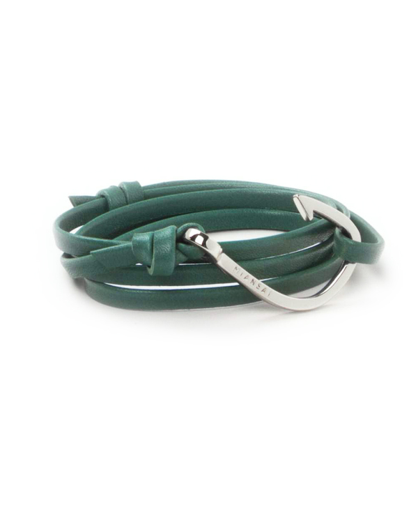 Miansai Silver Fish Hook And Teal Leather Wrap Bracelet Garmentory