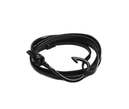 Miansai Black Fish Hook And Black Leather Wrap Bracelet