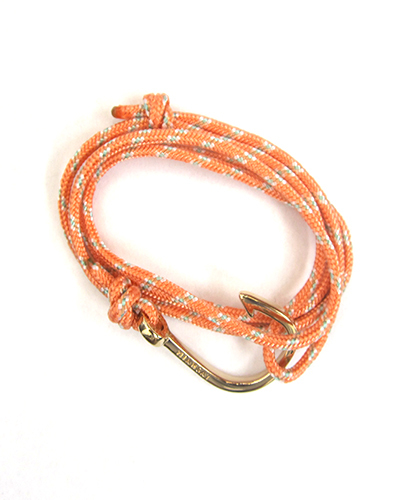 Miansai Gold Fish Hook And Salmon Rope Wrap Bracelet