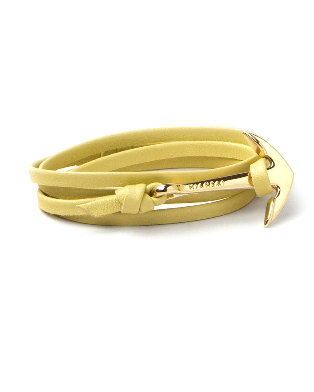 miansai s bracelet miansai gold anchor and yellow leather wrap bracelet from 374