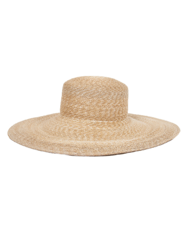 a20e00fcb07 Clyde Wide Brim Flat Top Natural Straw Hat with White Neckshade. sold out