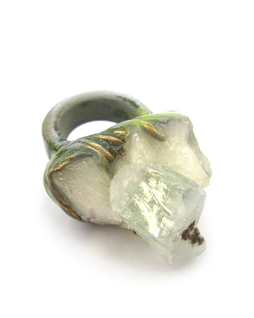 Adina Mills Green Crown Ring With Apophyllite Cluster