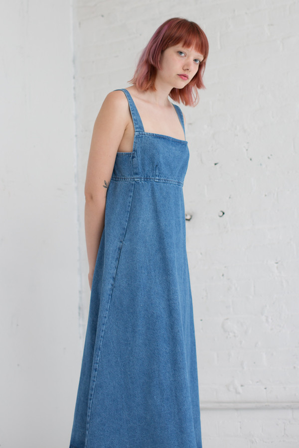 Caron Callahan Flora Dress in Faded Indigo Denim