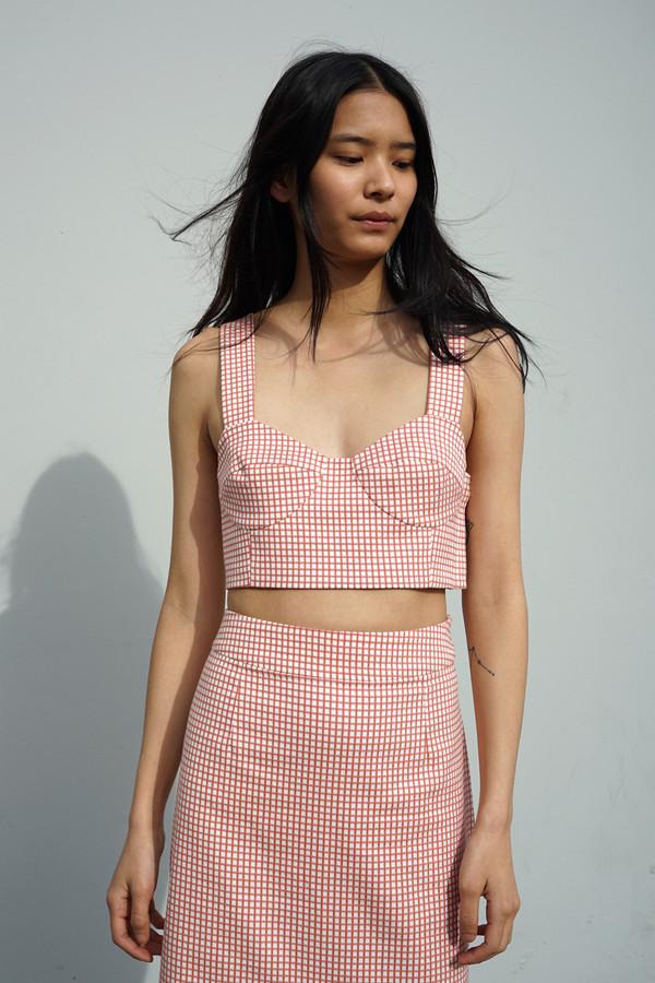 Waltz Long Skirt in Tomato Gingham