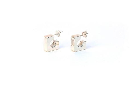 Isobell Designs Bold Square Hoops - silver