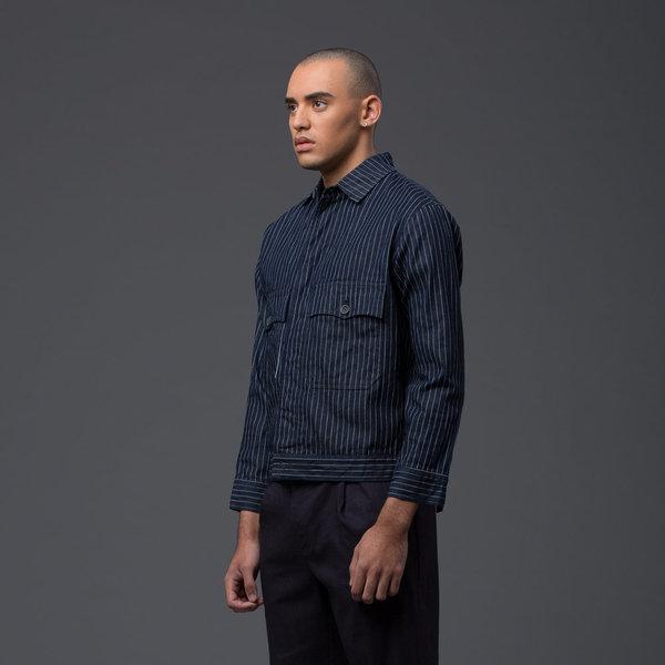 KRAMMER & STOUDT - Denim Carson Coat - Navy Pinstripe