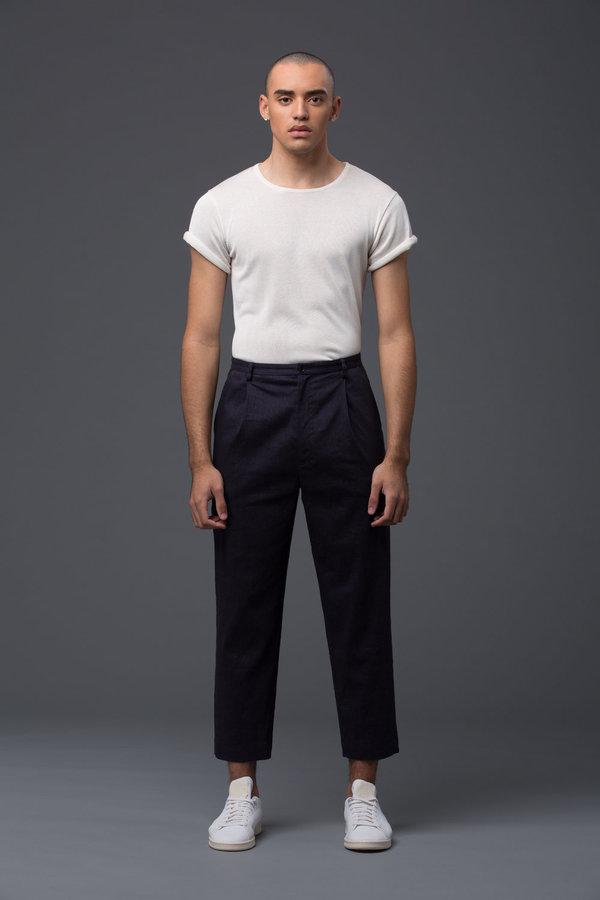 DEVEAUX - Single Pleat Pant - Navy