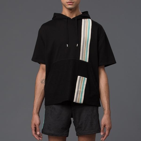 GARCIAVELEZ - Short Sleeved Hoodie - Black with Multi-Stripe