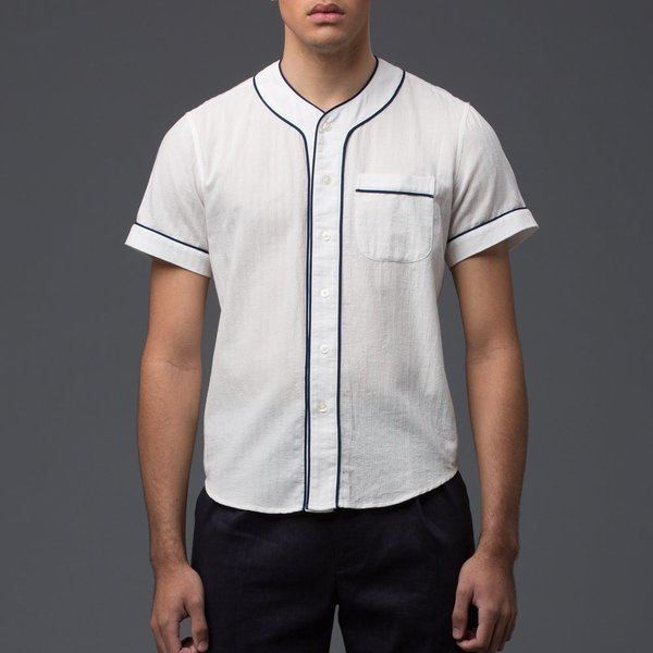 KRAMMER & STOUDT - Baseball Shirt - White with Blue Piping