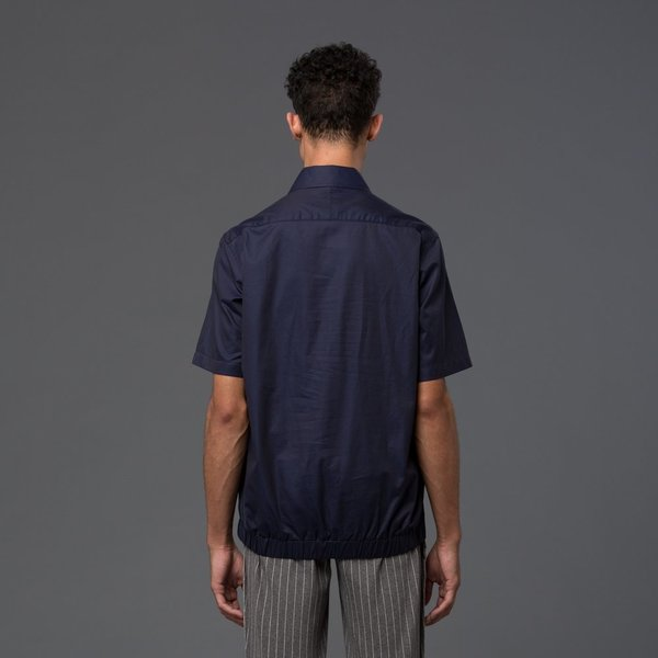 CARLOS CAMPOS - Pullover Woven Shirt - Navy and White Contrast