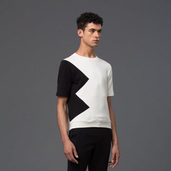 CARLOS CAMPOS - Short Sleeve Sweatshirt - White/Black Triangle Block Print