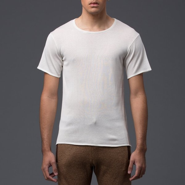 DEVEAUX - Fine Gauge Silk Knit Short Sleeve Tee - White