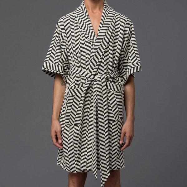 VESTMENT - Cordoba Robe - White & Black Chevron Jacquard