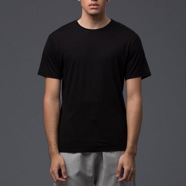 DEVEAUX - Short Sleeve Tencel Tee - Black