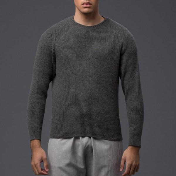 DEVEAUX - 1x1 Luxury Cashmere Ribbed Crew Neck - Grey