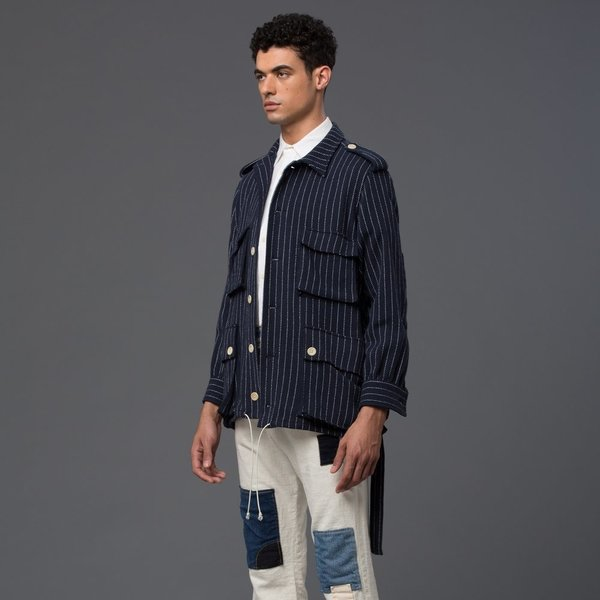 PALMIERS DU MAL - Safari Knit Jacket - Navy and White Stripe