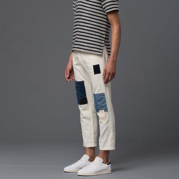 PALMIERS DU MAL - Linen Panel Pant - White and Denim