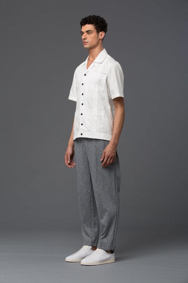 CARLOS CAMPOS - Short Sleeve Guayabera Shirt - White